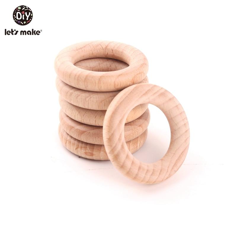 Let's Make Beech Wooden Bracelet 50pc Round Wood 54mm Teether DIY Bracelet Crafts Gift For Infant Beech Wooden Ring Bangles