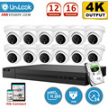UniLook 8MP H.265+ 4K NVR 8MP POE IP Camera NVR Kit CCTV System IR Outdoor Audio CCTV Security Systems 2.8mm Wide angle NVR Kit