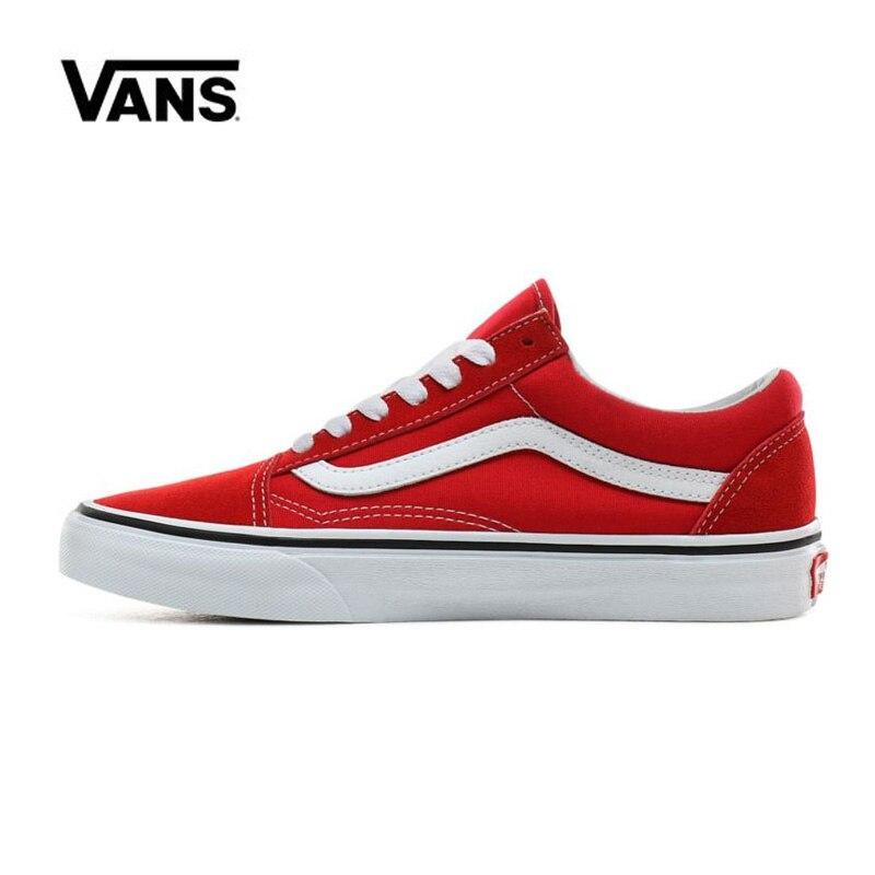 Original Vans Old Skool Shoes Men Women Racing Red VN0A4BV5JV6 Sneakers Unisex Skateboarding Vans Shoes Men