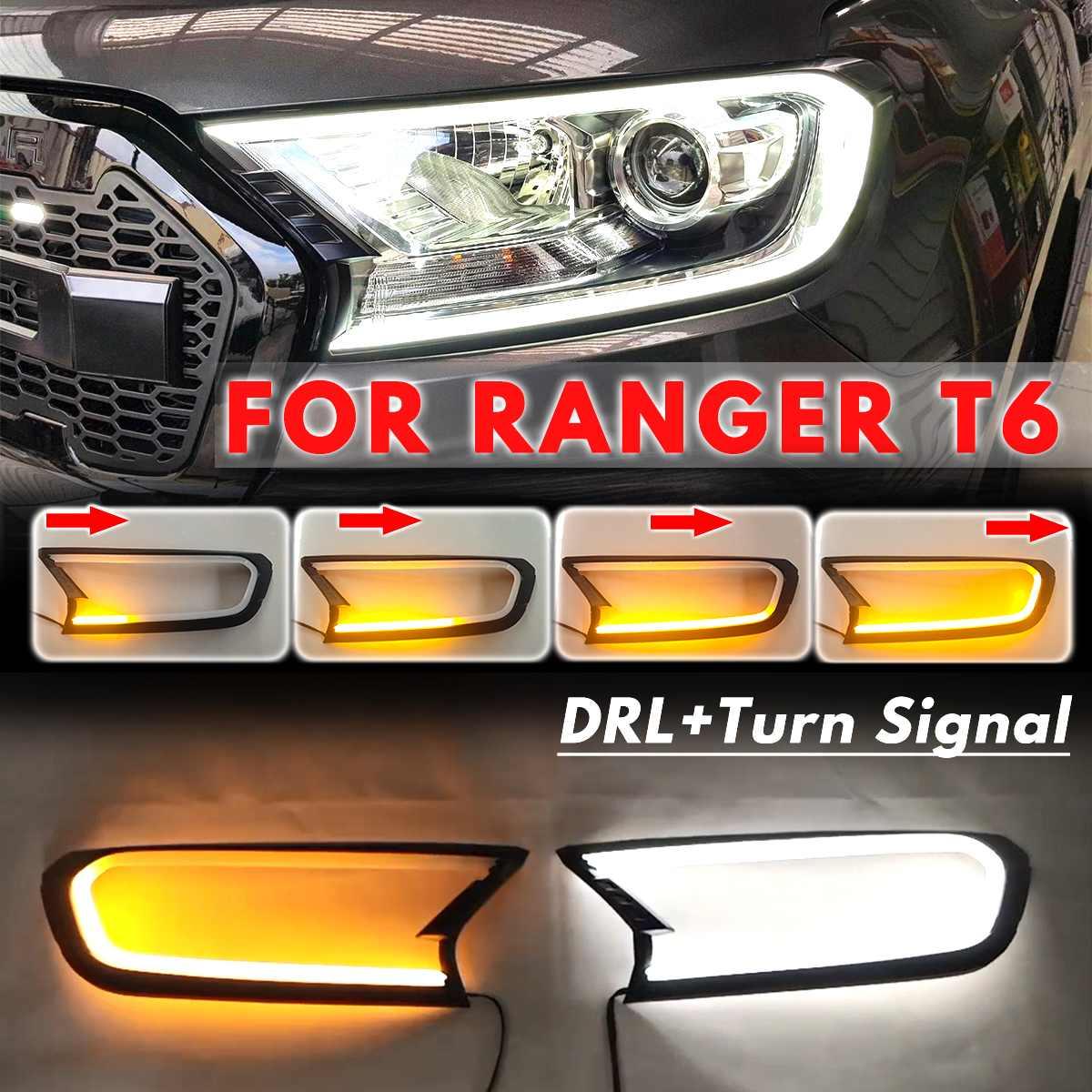 3 نمط 2x LED رئيس ضوء الجبهة شل غطاء الكسوة لفورد رينجر T6 ويلدتراك 2015 2016 2017 2018 ABS مصباح اغطية