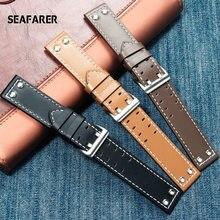 Pulseira de relógio de couro genuíno para hamilton caqui campo relógio h760250 h77616533 seiko pulseira de relógio 20mm 22mm botão fivela