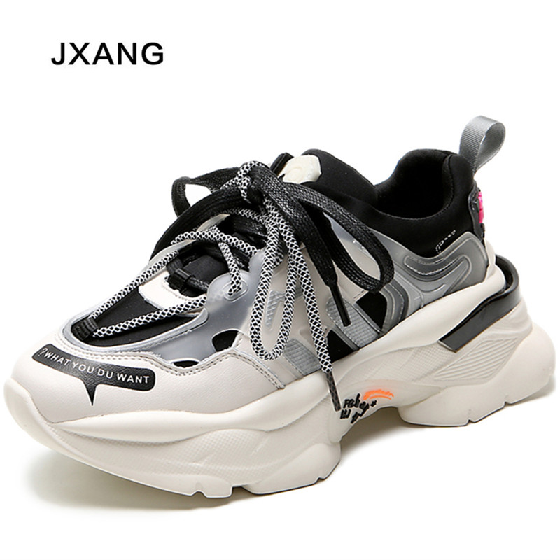 JXANG 2020 Spring Autumn Fashion Women Casual Breathable Platform Wedges Women Sneakers Chunky Height Increasing Female Shoes