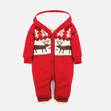 цены 2019 Warm Baby Rompers Winter Thick baby Clothes Newborn Boys Girls Romper Knitted Sweater Christmas Deer Hooded Baby Outerwear