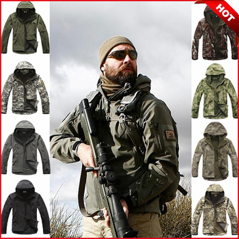 Outdoor Sport Softshell TAD Tactical Jacket Men Camouflage Hunting Clothes Military Waterproof Hooded Coats For Camping Hiking