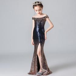 New Elegant Sequined Mermaid Long Gown Slim Sexy Slash Neck Color Fade Formal Kids Dress For Wedding Party Modis Vestidos Y2057