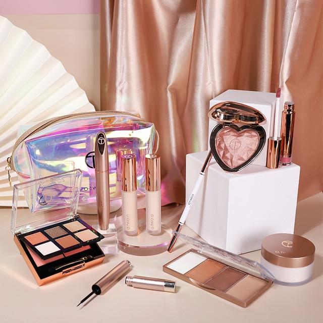 O.TWO.O 11 unids/set maquillaje Kit incluye colorete sombra de ojos corrector Contorno de destacar Mascara de delineador de ojos en polvo suelto 3