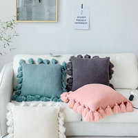 Solid Color Fringed Pillow Cover Nordic Pillow Wool Creative Home Cojines Decorativos Cushion Cover JJJRY799|Pillow Case| |  -