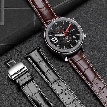 22mm Genuine Leather band Strap For AMAZFIT GTS/GTR 47MM Replacement strap for Amazfit Stratos Pace 2 Bracelet Accessories