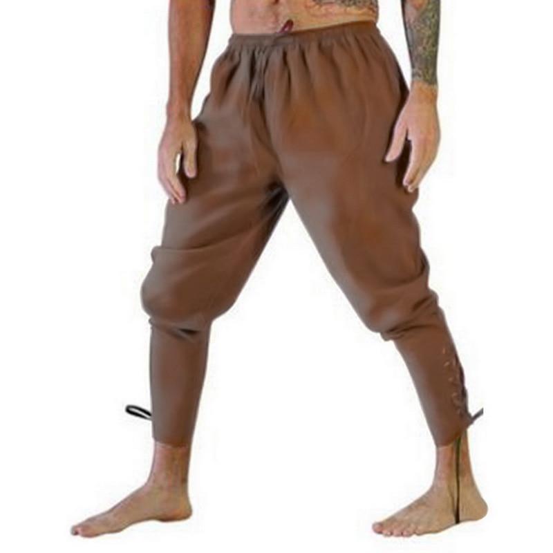 2019 Men Retro Medieval Costume Lace-Up Bandage Pants Larp Capris Trousers Vintage Cotton Joggers For Men Quick Dry Casual 3XL
