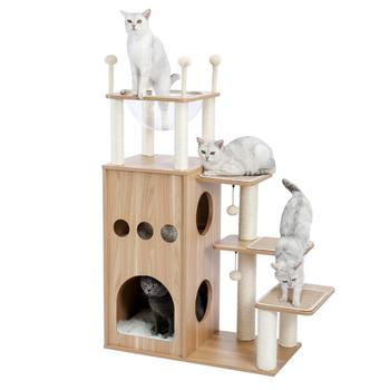 wooden cat climbing tree