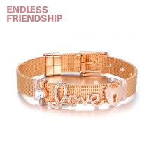 Endless Friendship Women Stainless Steel Fine Bracelet Heart Beads Letter Love Shape Mesh For Metal Wristband
