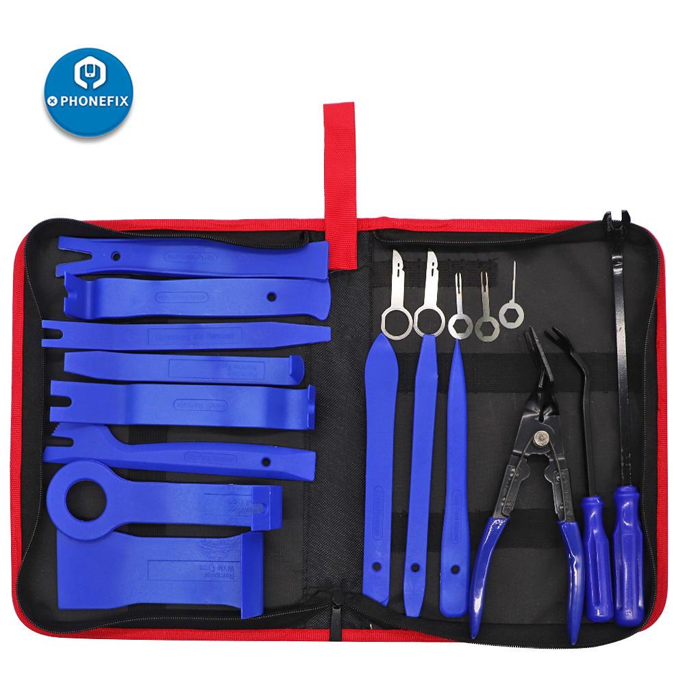 PHONEFIX 19pcs Car Trim Removal Tools Kit Car Panel Door Audio Removal Tool Kit With Clip Pliers Fastener Remover Pry Tool Set