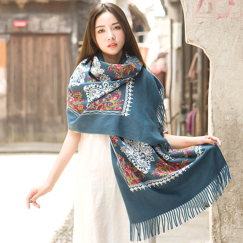 Image 3 - Luxury Brand Cashmere Women Embroidery Scarves Stoles Warm Shawl  Bandana Scarf Muslim Hijab Beach Blanket Face Shield FoulardWomens  Scarves
