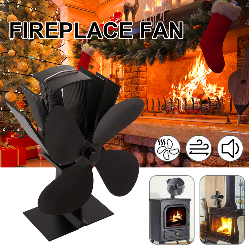2020 Eco Friendly 4 Blades Heat Powered Stove Fan Log Wood Burner Quiet Black Home Fireplace Fan Efficient Heat Distribution