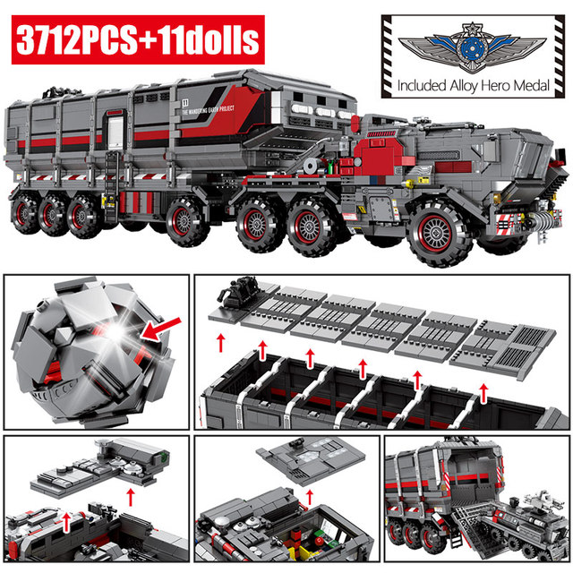 Wandering Earth Cargo Van Transport Truck Building Blocks for Technic City Military Tank Carrier Car Bricks Toys for Boy