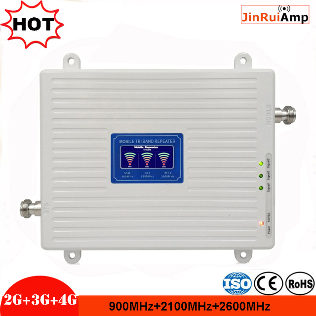 LCD 2g 3g 4g gsm repeater 900 2600 2100 MHz Tri band handy signal booster LTE cellular signal tri band repeater verstärker