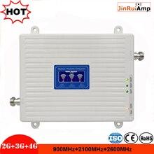 LCD 2g 3g 4g gsm repeater 900 2600 2100 MHz Tri zespół mobilny wzmacniacz sygnału LTE komórkowym sygnał trójpasmowy wzmacniacz wzmacniacz