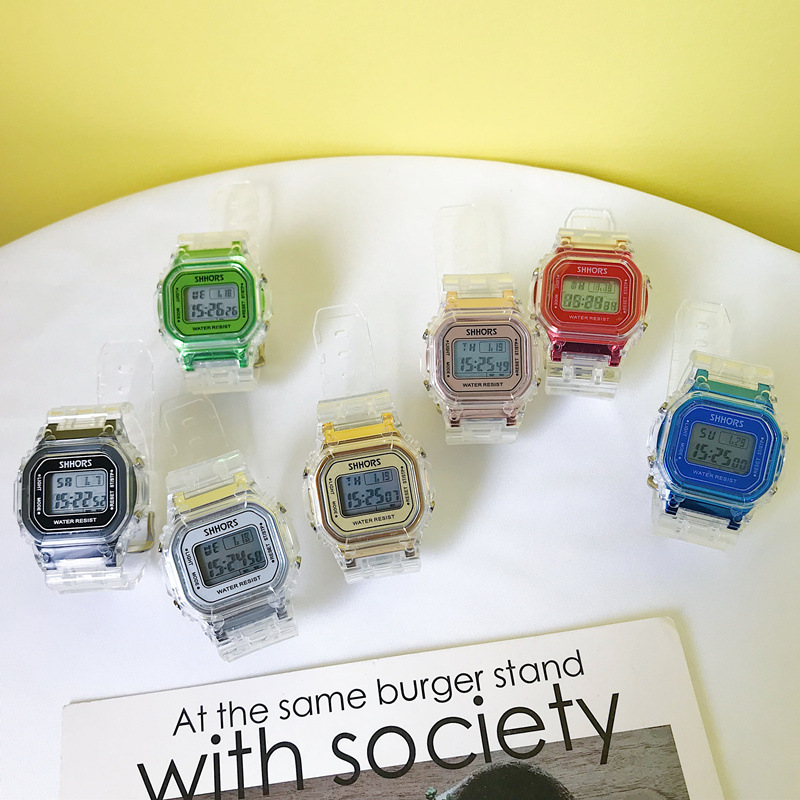 Image 4 - Fashion Men Women Watches Gold Casual Transparent Digital Sport Watch Lover's Gift Clock Waterproof Children Kid's Wristwatch-in Women's Watches from Watches