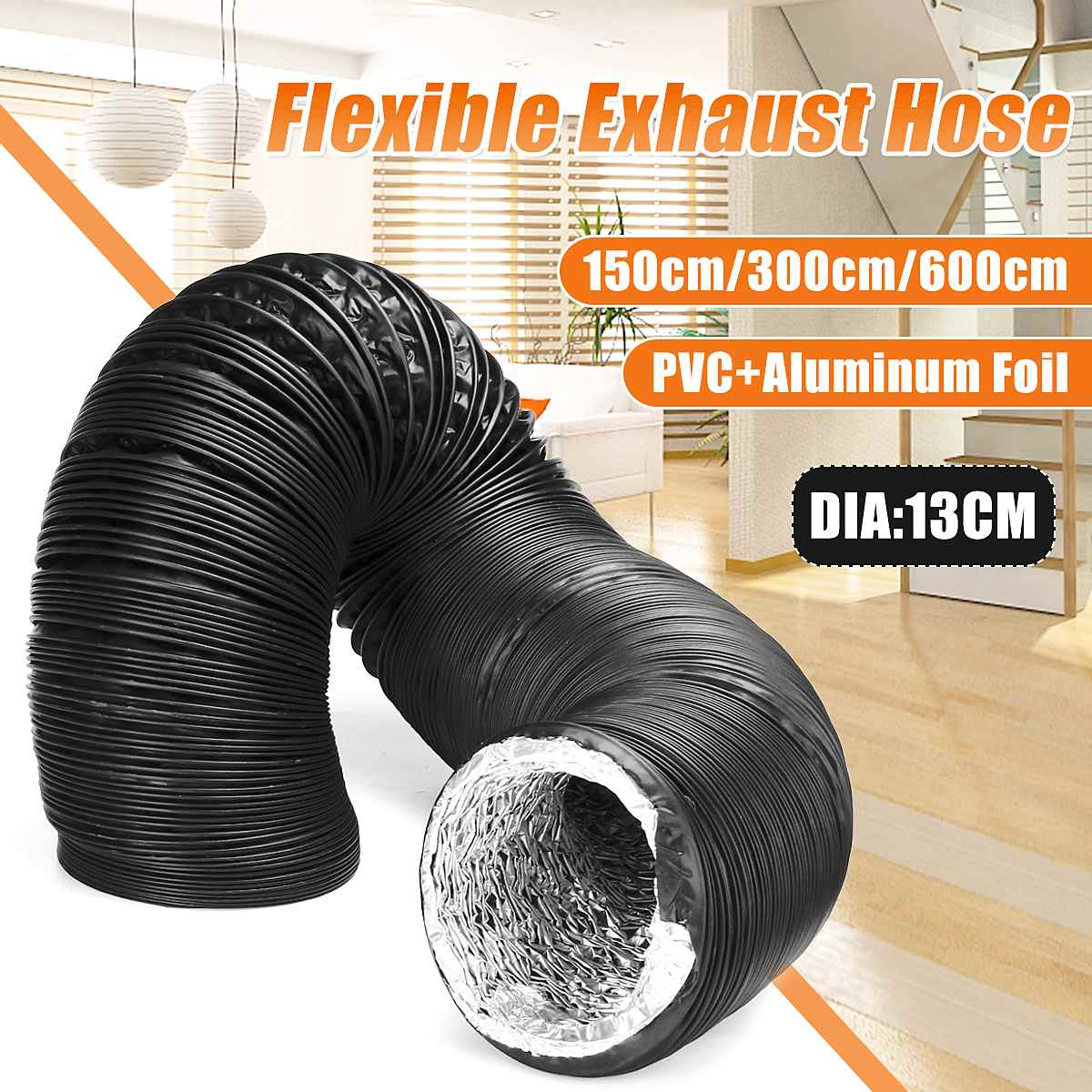 1.5/3/6M Dia.130mm Exhaust Tube PVC Aluminum Air Ventilation Ventilador Extractor Flexible Pipe Hose Kitchen Accessories Tools