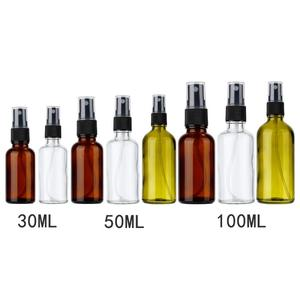 100/50/30 ml Transparent/Amber Empty Refillable Glass Spray Bottles Essential for Cosmetic Oil Liquid Atomizer Container