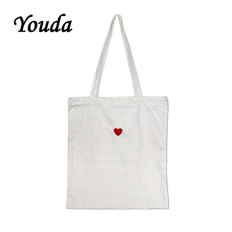 Youda Pure White Canvas Bag Love