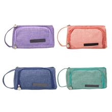 Large Capacity Pencil Case Canvas Pen Bag Stationery Cosmetic Storage Bag School Office Home Pencilcase Pen Case Supplies Newst недорого