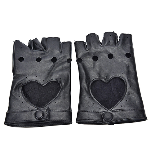 PU Leather Gloves Punk Hip-hop Half-finger Round Tactical Gloves Without Fingers Nail Glove 4
