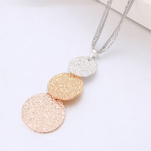 Gold Silver Mix Color Shining Round Pendant Necklace For Women Multi layer Chains Long Necklace Fashion Jewelry Vintage Collier(China)