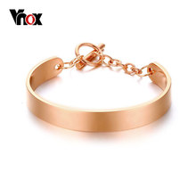 Vnox Individuality ID Bracelets & Bangles Shiny Stainless Steel Adjustable Women Jewelry Silver/Rose/Gold-color(China)