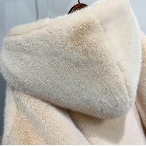 Image 5 - חורף נשים באיכות גבוהה פו ארנב פרווה מעיל יוקרה ארוך פרווה מעיל Loose דש מעיל עבה חם בתוספת גודל נקבה מעילי קטיפה