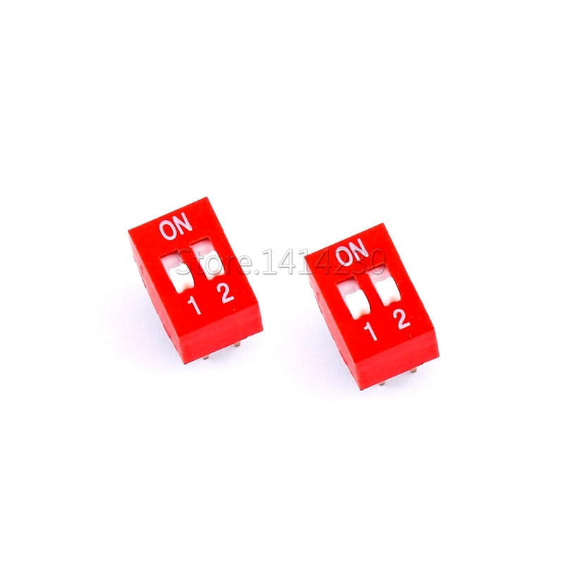 10PCS High Quality DIP Switch 2 Bit Way 2.54mm Slide Type Switch 2 Position