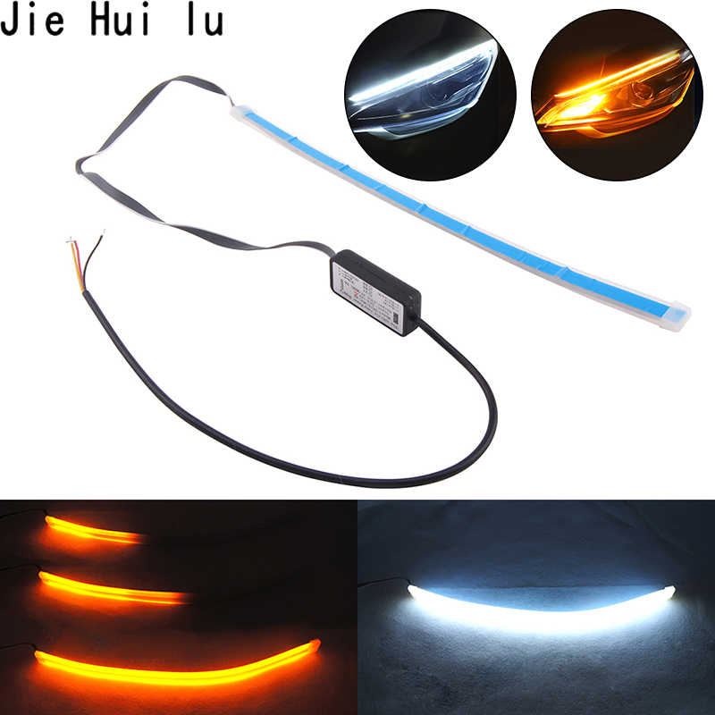 1Pcs DRL 30cm 45cm 60cm Daytime Running Light Flexible Soft Tube Guide Car LED Strip White Red Turn signal Yellow Waterproof