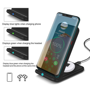 Image 3 - FDGAO 15W 2 in 1 Charging Dock Station for iPhone 11 XS XR X 8 Airpods Pro Qi Wireless Fast Charger Stand For Samsung S20 S10 S9