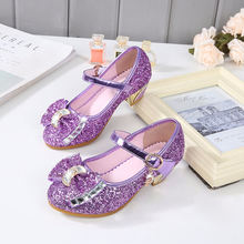 Летнее платье для девочек принцесс Туфли на низком каблуке из