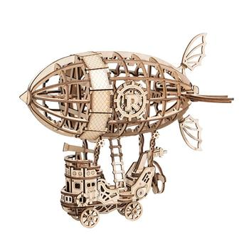 цена на Surwish 3D Wooden Puzzle Airship DIY Mechanical Transmission Model Assembling Educational Diy Assembly Toys