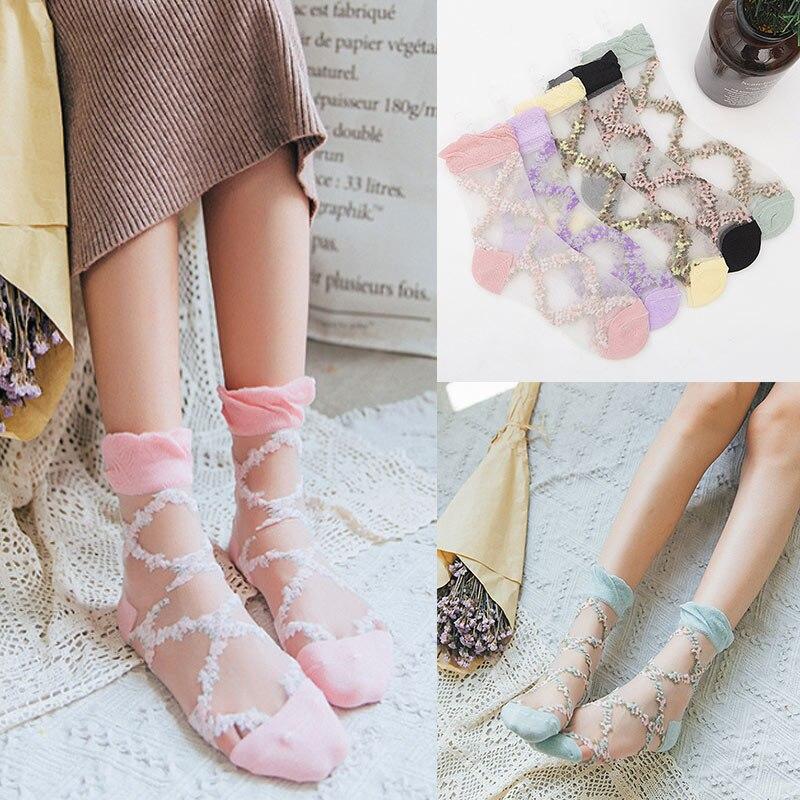 1 Pair Women Lady Socks Mesh Transparent Elasticity Cool For Spring Autumn Summer C55