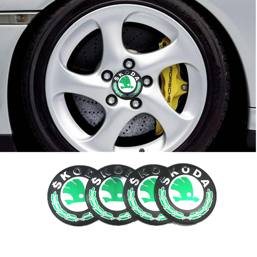 NEW 4pcs 56mm Car Tire Wheel Center Hub Caps Decorative Sticker For Skoda Octavia Fabia Rapid Yeti Superb Octavia A 5