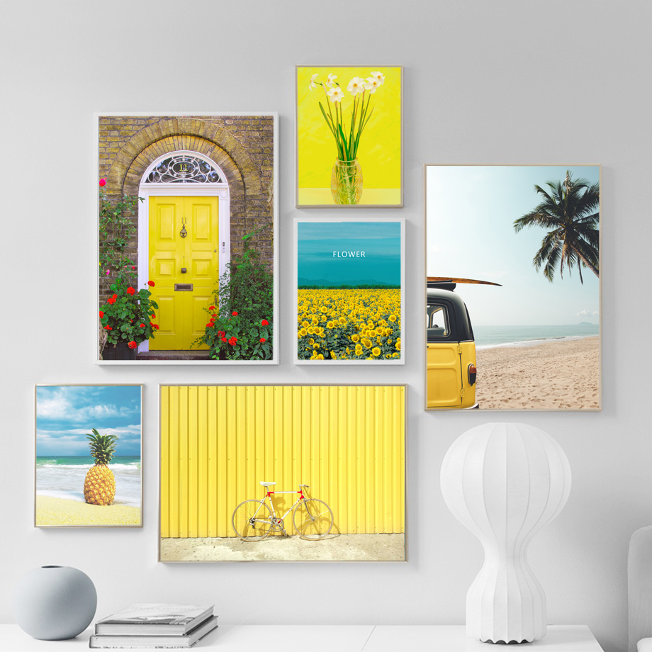 Sunflower Coconut Beach Bus Bicycle Wall Art Canvas Painting Nordic Canvas Posters And Prints Wall Picture For Living Room Decor in Painting Calligraphy from Home Garden