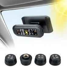 Auto Reifen Druck Monitor Solar TPMS Tire Pressure Monitoring System Mit 4 Externe Sensoren Temperatur Warnung Kraftstoff Sparen
