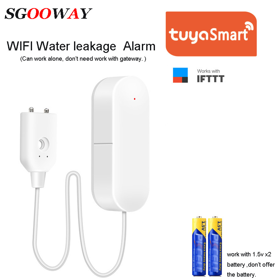 Sgooway Tuya Smart Wifi  Water Leak Sensor Detector Alarm  Compatible With Smart Life IFTTT