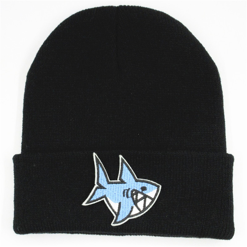 Cartoon Shark Embroidery Cotton Thicken Knitted Hat Winter Warm Hat Skullies Cap Beanie Hat For Kid Men Women 105