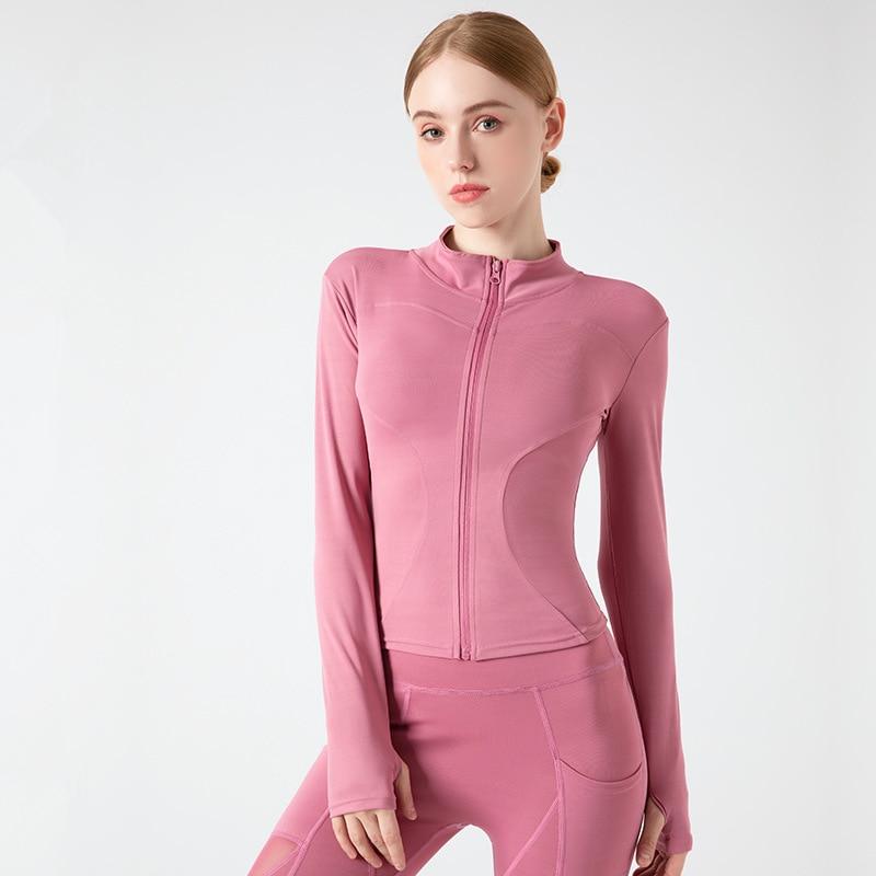 Women Sport Jackets Zipper Yoga Coat Tops Thumb Hole Running Shirt Sportwear Girl Thin Quick Dry High Elastic Gym Fitness Jacket