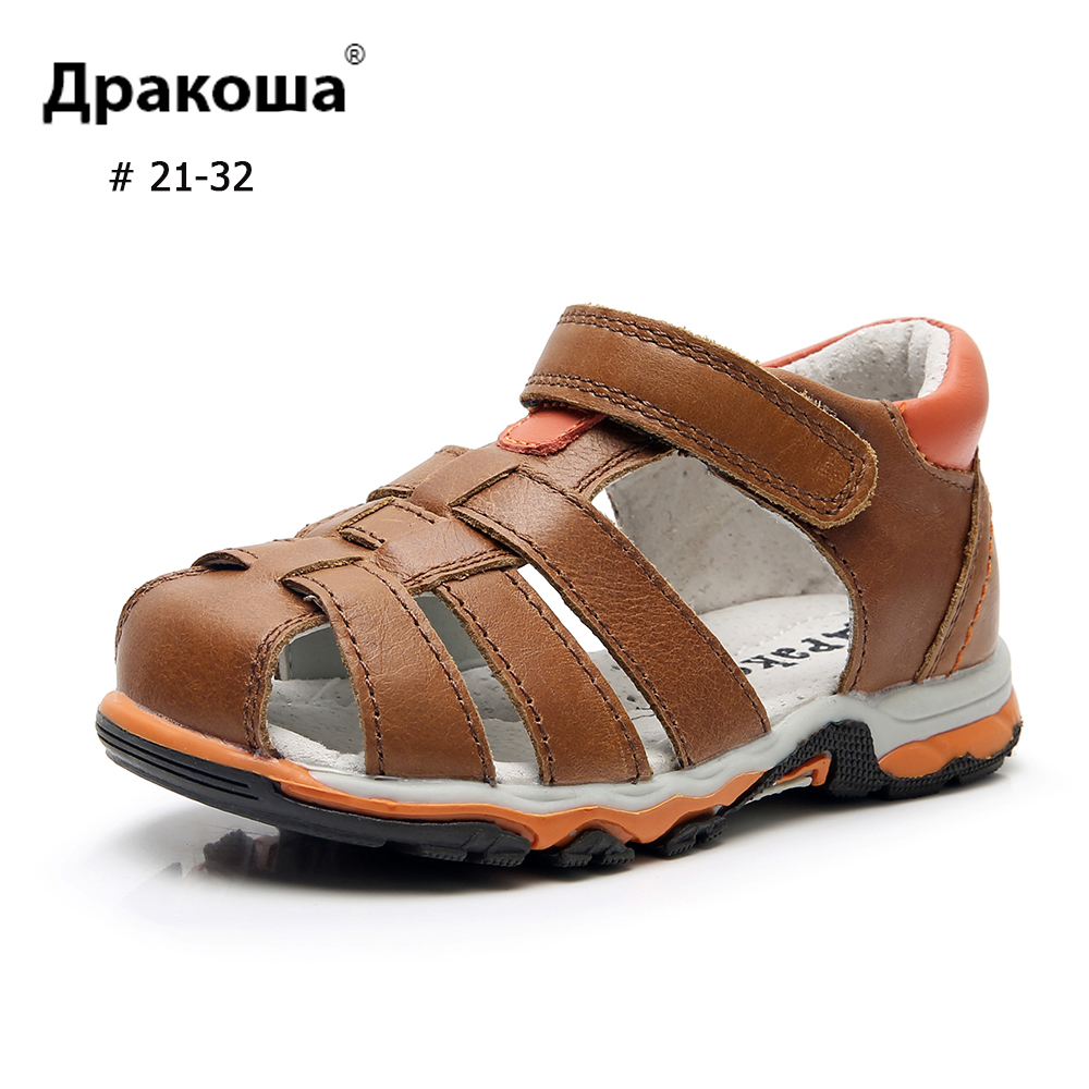 APAKOWA Boys Sandals Genuine Leather Cross Arch Spport Summer Sandals Single Hook&Loop Kids Casual Beach Children's Shoes