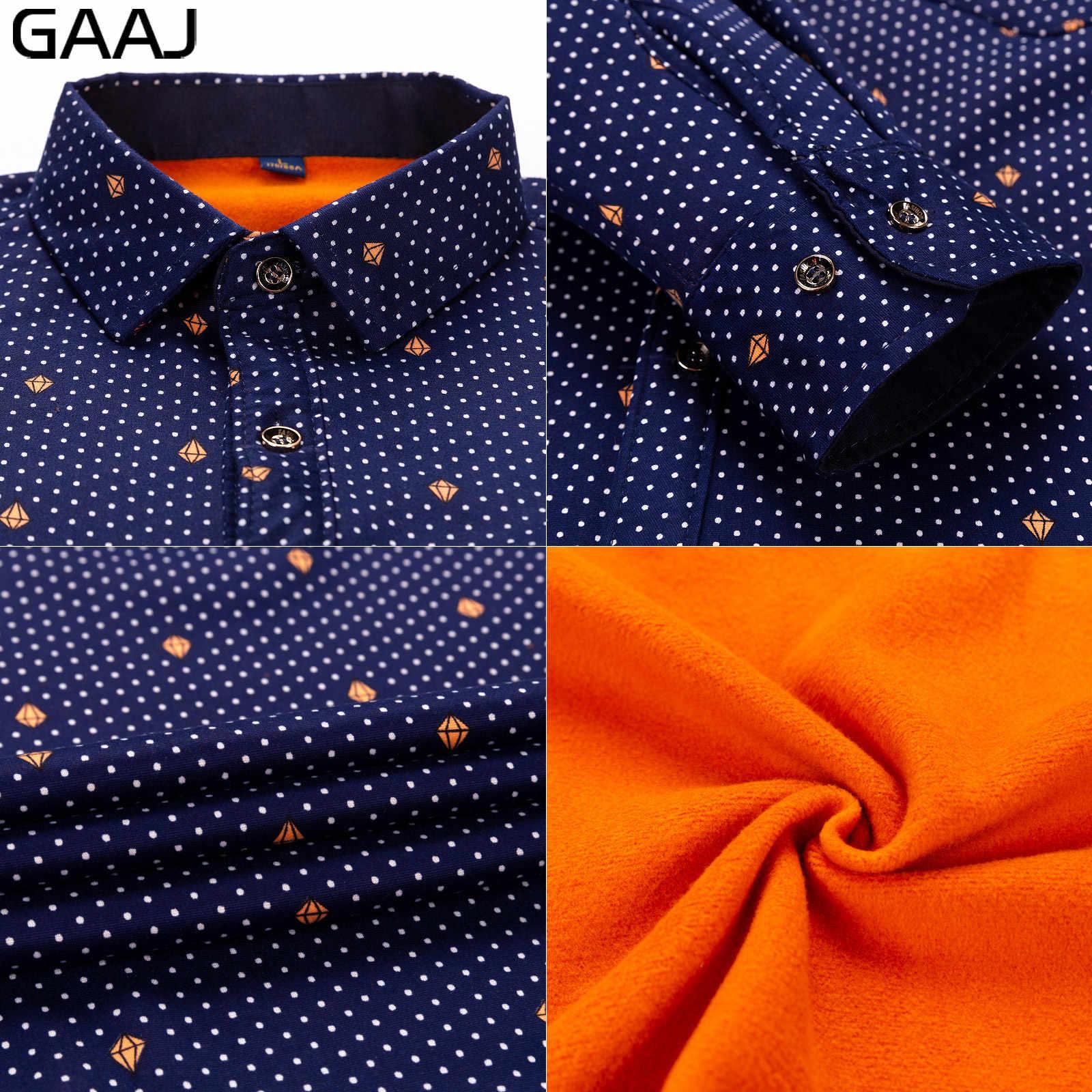 GAAJ 男性シャツ長袖花の正式なファッションプリントチェック柄市松カジュアルシャツコットンソーシャルシャツメンズシャツ暖かいのための毛皮とメンズ