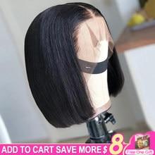 Pelucas de cabello humano con encaje frontal 13x6 para mujeres negras, pelo liso brasileño de 16 pulgadas, Color Natural, profundo, corte Bob