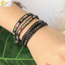 CSJA Multilayer Wrap Bracelets Natural Gem Stone Lava Onyx Beads 2 Strands Leather Bracelet Boho Braided Jewelry for Femme S614