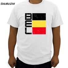Summer Fashion Men T Shirt Belgium Flag T-shirt National Team Country Supporter Bel tee shirt cotton 100% casual tshirt big size(China)