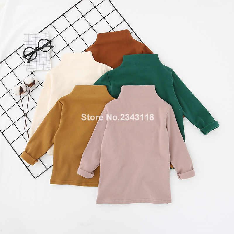 Коллекция 2019 года, весенние хлопковые однотонные универсальные футболки в Корейском стиле для мальчиков и девочек детские топы с длинными рукавами и полуворотником