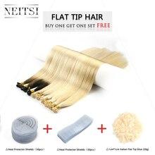 """Neitsi Remy плоский наконечник человеческих волос для наращивания 2"""" 1,0 г/локон прямые капсулы кератин предварительно скрепленные fusion волосы наборы 50 г 100 г"""