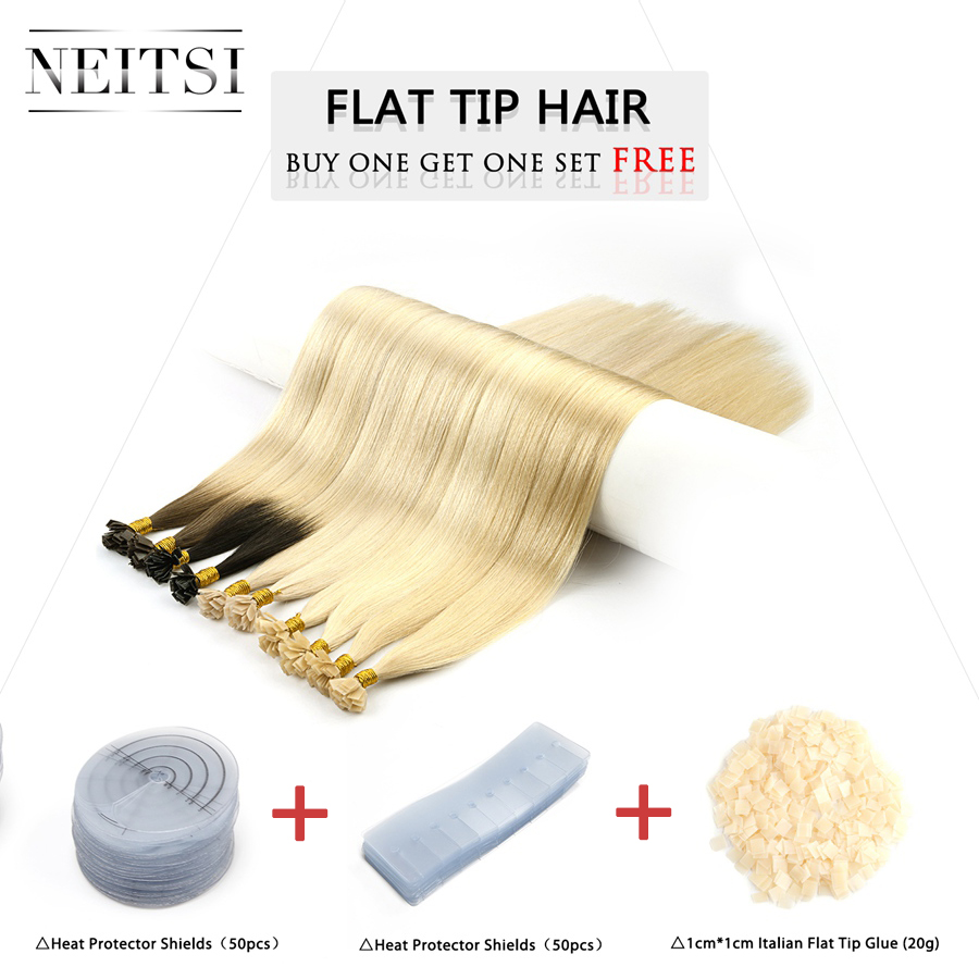 "Neitsi Remy Flat Tip Human Hair Extensions 24"" 1.0g/s Straight Capsules Keratin Pre Bonded Fusion Hair Kits 50g 100g"